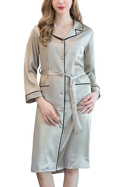 Dolamen Camisón para Mujer Satén, 2018 Manga Larga Mujer Camisones Raso Pijamas, Atractiva Satén