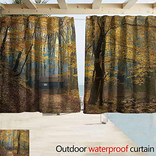(MaryMunger Indoor/Outdoor Top Curtain Fall Tree Autumn Season Woodland Drapes for Outdoor Decor W63x45L Inches)