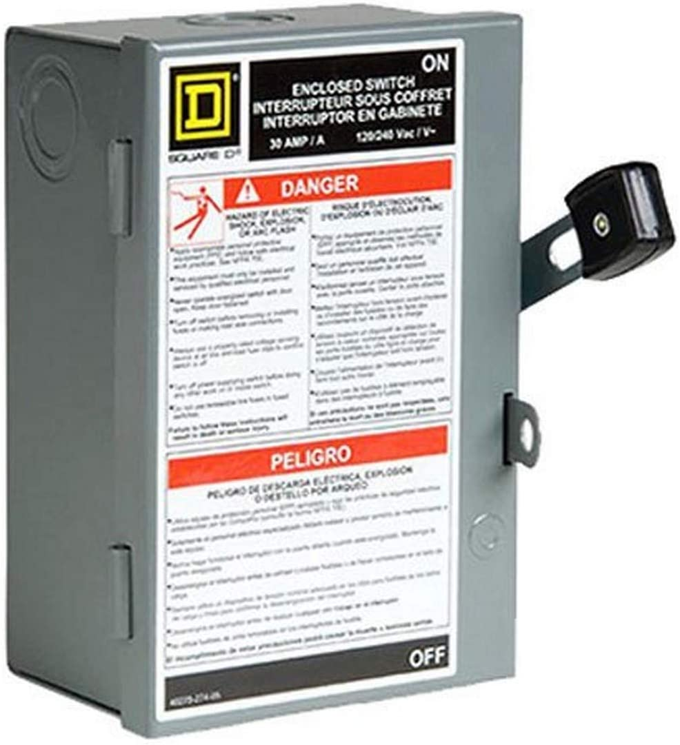 Square D by Schneider Electric L211N 30 Amp 120/240-Volt Two-Pole Indoor Light Duty Fusible Safety Switch with Neutral, Gray - Electrical Outlet Switches -