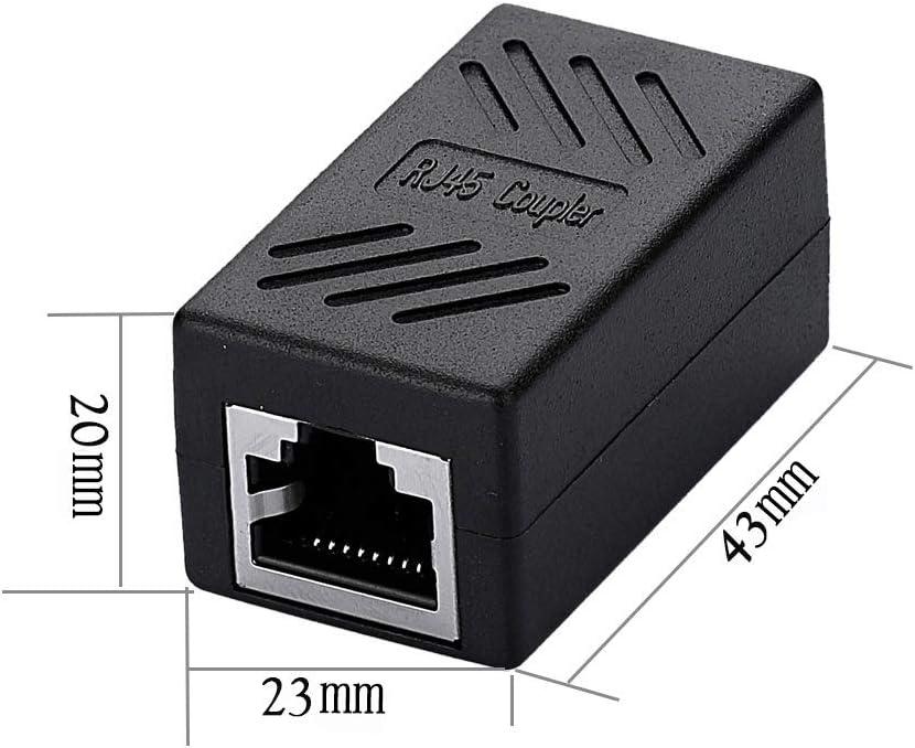 SIENOC Adaptador RJ45 para cable de Red Ethernet Cat5/Cat6 RJ45 Acoplador gigabit hembra a hembra Negro (1 Unidad)