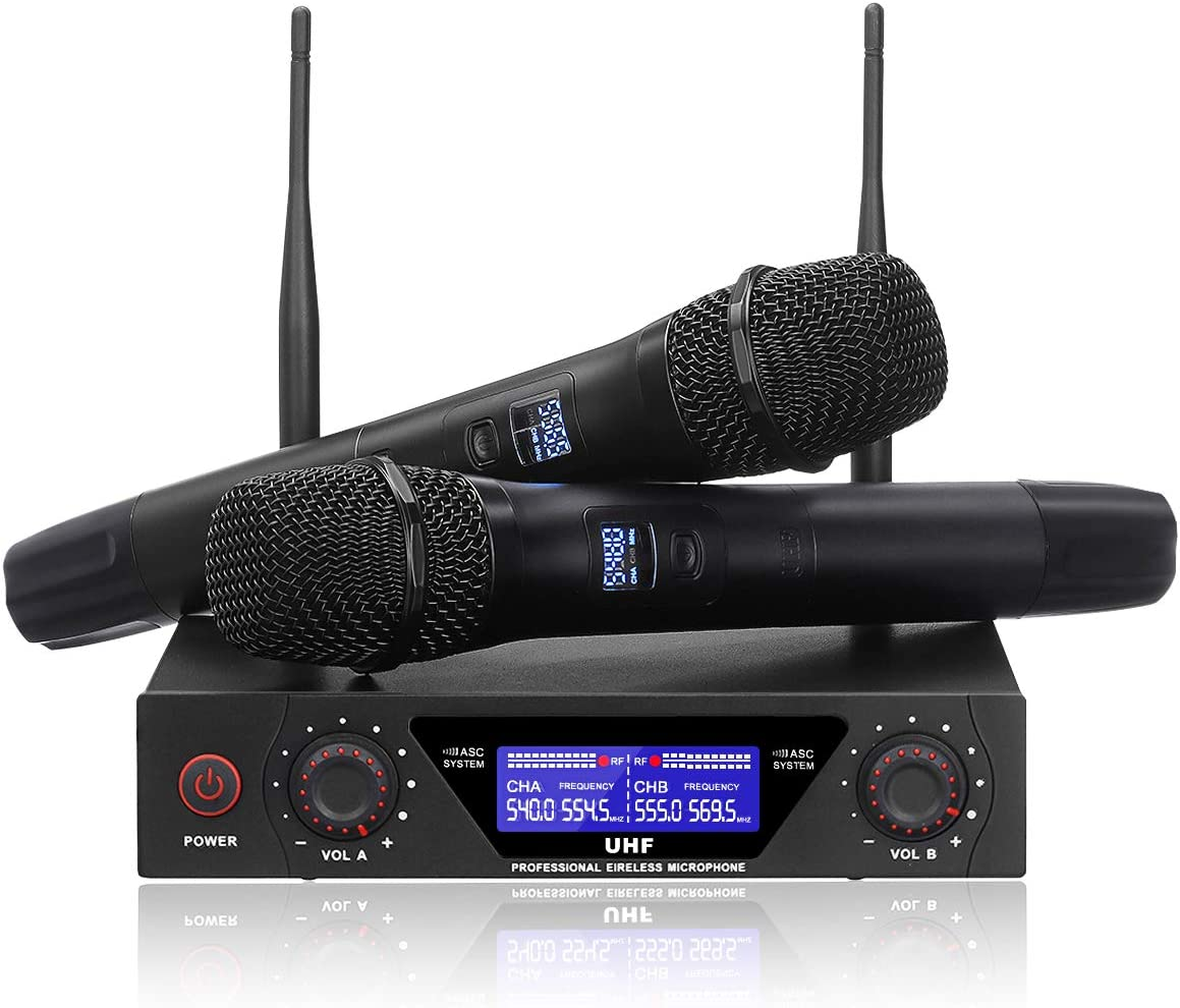 NASUM UHF Dual Channel Professional Handheld Wireless Microphone System with Dual Wireless Dynamic Microphones,LCD Display Professional Home KTV Set for Party,Meeting,Karaoke,YouTube,Classroom Black