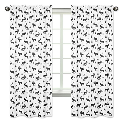 (Sweet Jojo Designs Black and White Woodland Moose Window Treatment Panels Curtains for Rustic Patch Collection - Set of 2 )