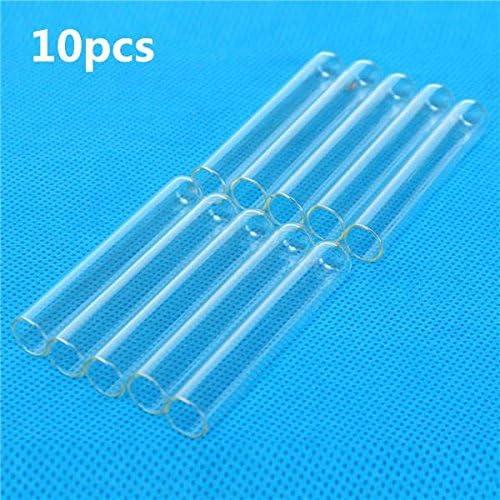 Queenwind 10pcs 12x75mm ラボ化学ガラスホウケイ酸ガラスティーチングテストチューブ