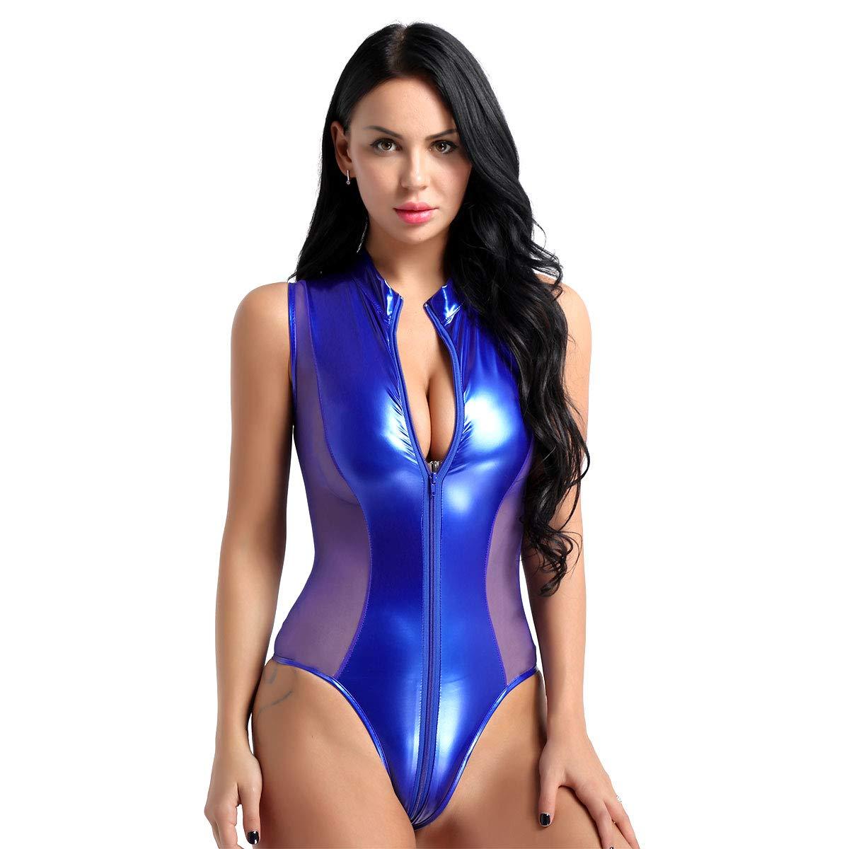 iixpin Womens One Piece Shiny Metallic Patent Leather Halter Neck Sleeveless Thong Leotard Bodysuit Nightwear