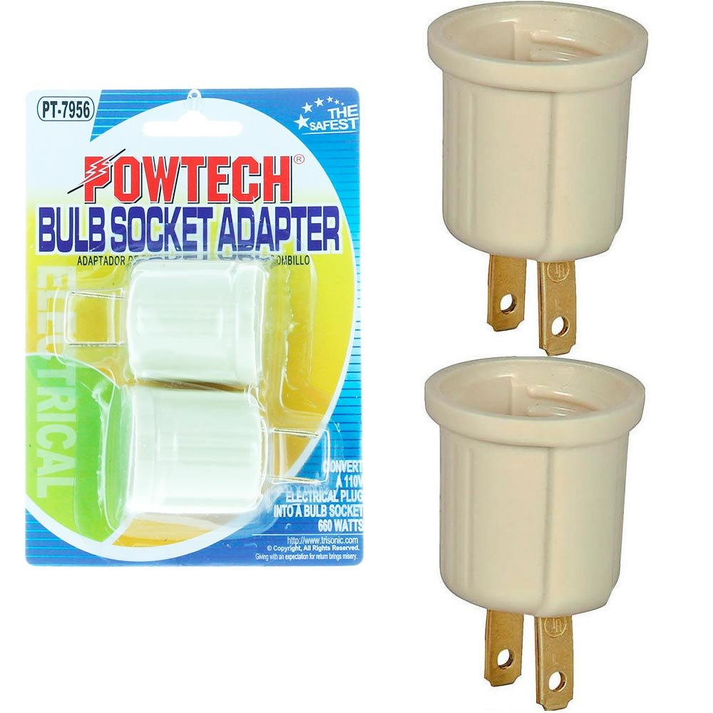2 Pc Light Bulb Socket Adaptor Converter Screw Lamp Base Ac Wall E26 To Outlet Plug Adapter On Off Switch 12