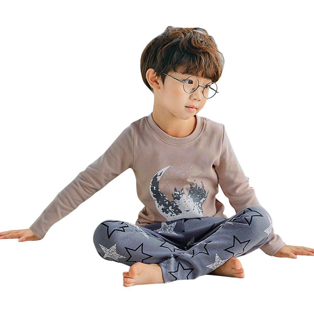Suma-ma Popular Stars Print Long Sleeve Tops+Pants Pajamas Home Outfits for Kids Baby Boys Girls (3T, Khaki)