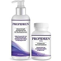 Propidren Combo Pack - DHT Blocker & Hair Growth Supplement (1 Bottle, 60 Count) & Shampoo (1 Bottle, 8 Ounces) to…
