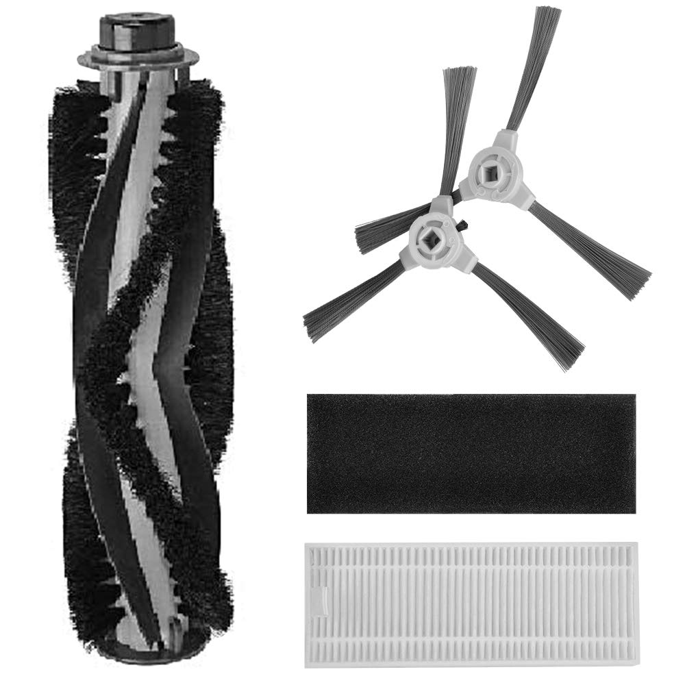amarey Robot Cleaner Replacement Brush, Replacement Kit Accessories A800 A900 Robot Vacuum, 2pcs Side Brush, 1pcs Sponge Filter, 1pcs Rolling Brush