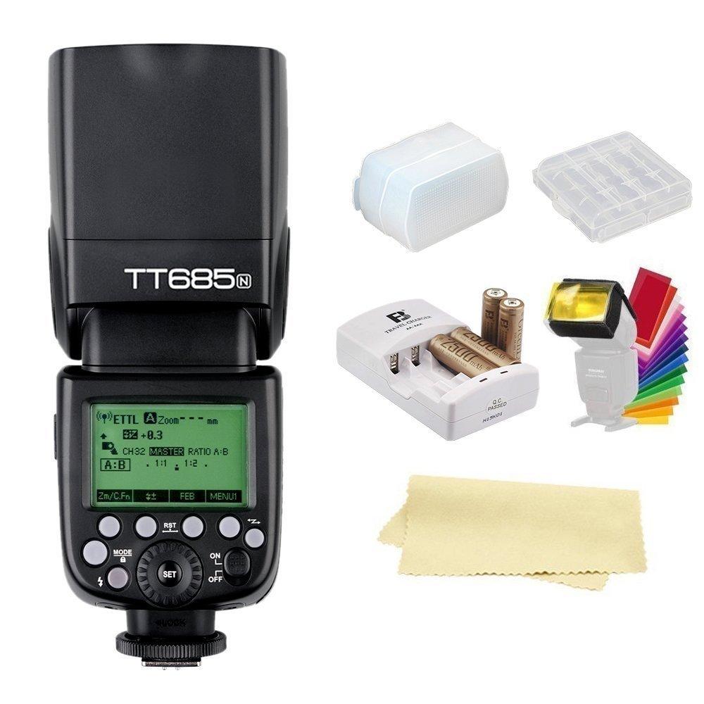 Godox Thinklite TT685N TTL I-TTL 2.4GHz GN60 High Speed Sync 1/8000s Wireless Master Slave Camera Flash Speedlite Speedlight compatible For Nikon Cameras+44AA batteries&Charger
