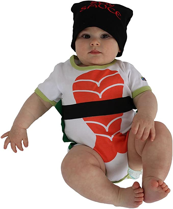 Sozo Baby Sushi Bodysuit & Cap Set, White/Orange/Black/Green, 3-6 Months