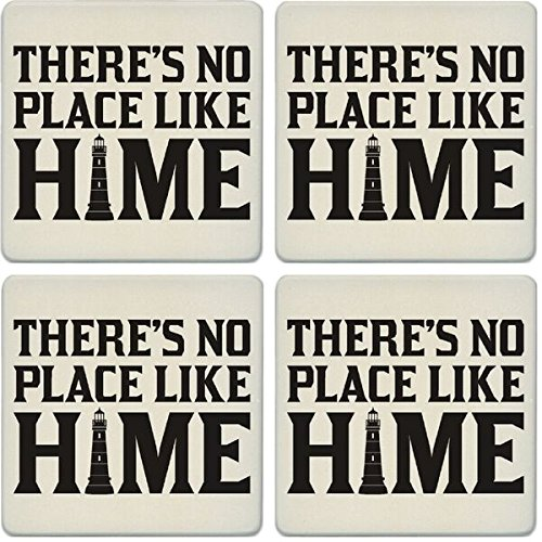 CoasterStone Absorbent Coasters (Set of 4), No Place Like Home Lighthouse, 4-1/4
