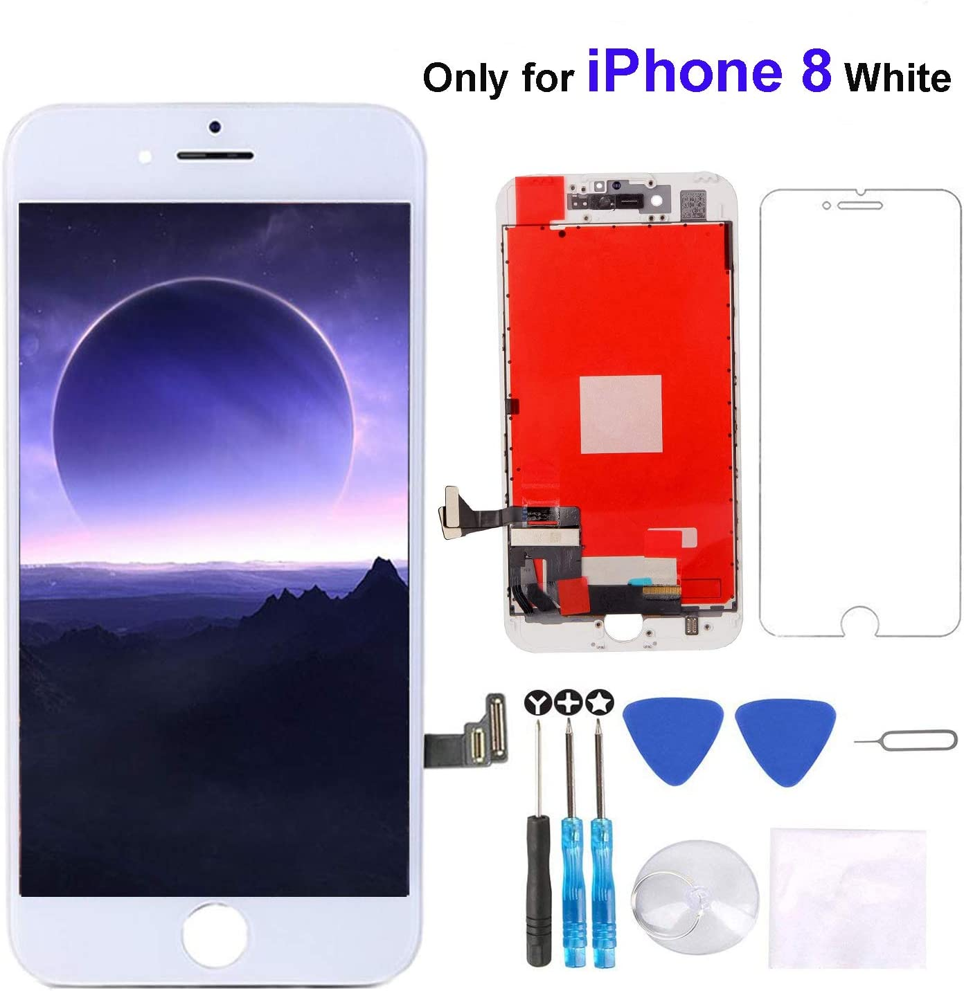 """Screen Replacement for iPhone 8 Screen White 4.7"""" LCD 3D Touch Screen Digitizer Replacement Frame Display Assembly Set with Screen Protector and Repair Tools for iPhone 8 Screen Replacement-White"""