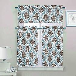 3 Piece Sheer Window Curtain Set: Medallion Design, 2 Tiers, 1 Valance