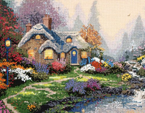 Thomas Kinkade Everett's Cottage Counted Cross Stitch Kit-14