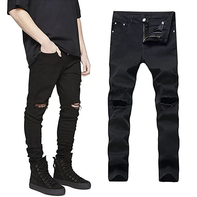 Amazon.com: uni-fashion moda Skinny pantalones para hombre ...