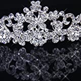Crystal Necklace Earrings, Flower Crown Headband Veil Tiara Wedding Jewelry Set