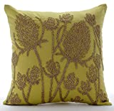 "Luxury Green Shams, Paddy Millet Pillow Shams, 24""x24"" Pillow Sham, Square Cotton Linen Shams, Contemporary Pillow Shams - Greentini"