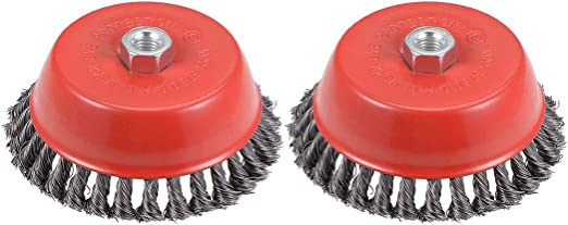 uxcell 5-Inch Wire Cup Brush Twist Knotted Crimped Steel with M14 Threaded Hole 2 Pcs