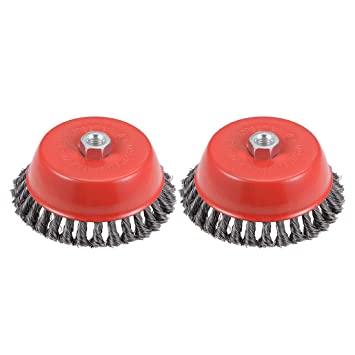 uxcell 6-Inch Wire Cup Brush Twist Knotted Crimped Steel with M14 Threaded Hole 2 Pcs