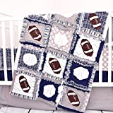 Sports Crib Set - Gray / Navy - Football and Baseball Baby Bedding with Quilt, Bumpers, Skirt, Sheet