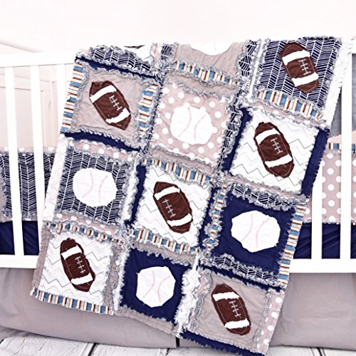 Sports Crib Set - Gray / Navy - Football and Baseball Baby Bedding with Quilt, Bumpers, Skirt, Sheet by A Vision to Remember