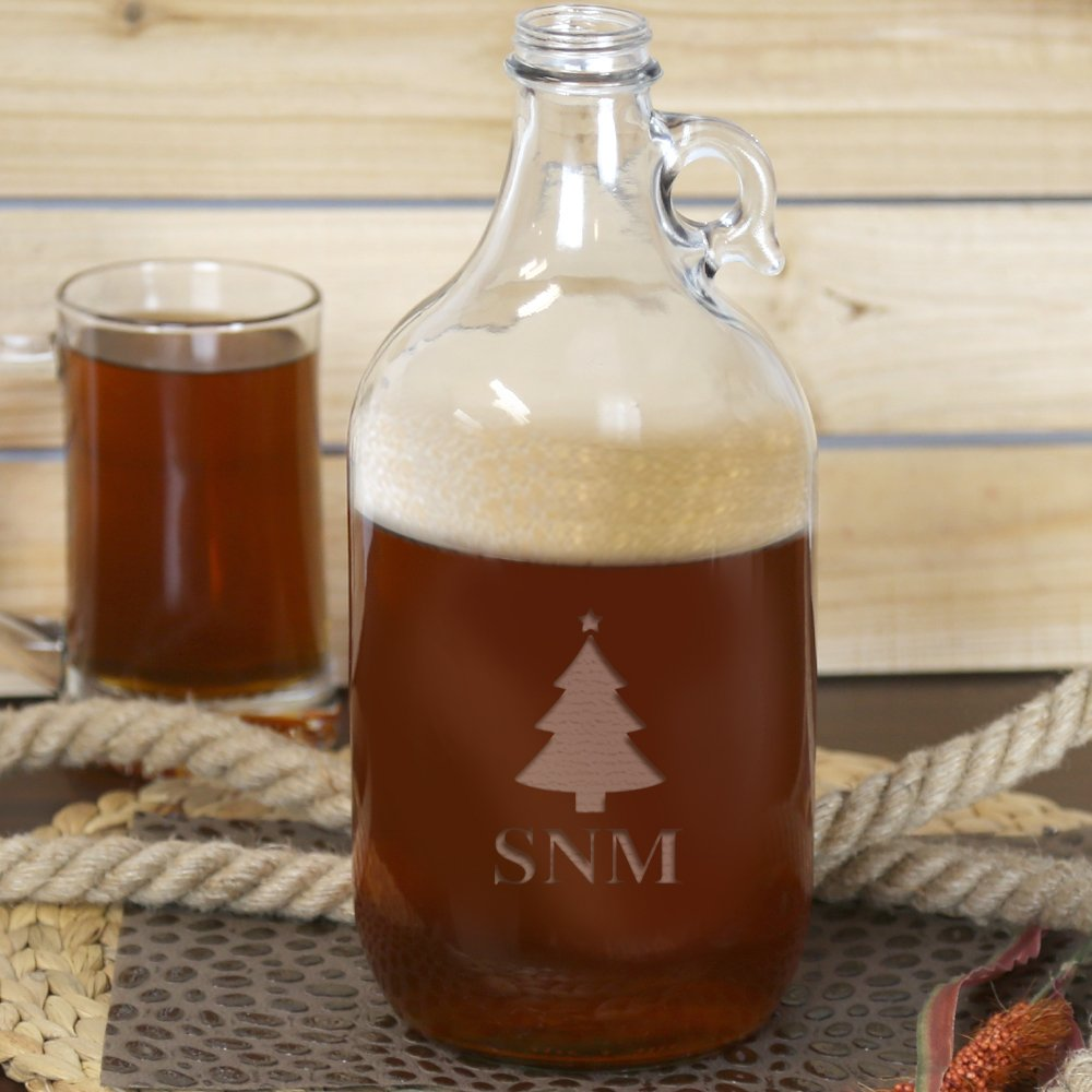 Monogram Personalized Christmas Tree 64 oz Beer Growler with twist off cap