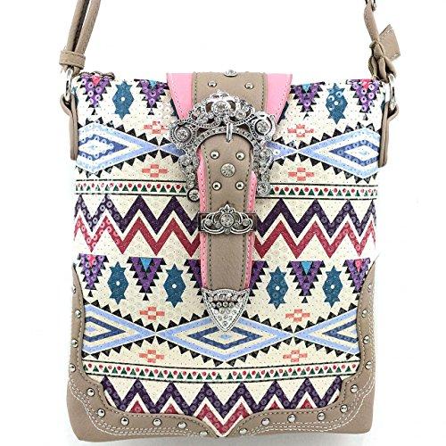 Tan/motley Handbag Purse and Optional Matching Messenger Handbag with Aztec Style Rhinestone Sequin and Rhinestone Buckle (Tan Messenger Style Handbag)