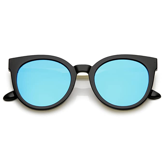 14d5a0fc0c sunglassLA - Classic Horn Rimmed Cat Eye Sunglasses Round Color Mirrored  Flat Lens 53mm (Black