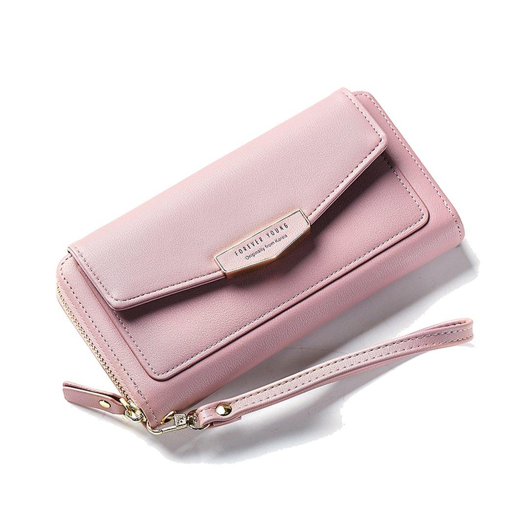Mothers Day Gift Leather Wallet Zipper Around Smartphone Pocket Clutch Travel Purse Handbag Ladies Card Cash Holder Wristlet Cellphone For Women Girl GreyPink