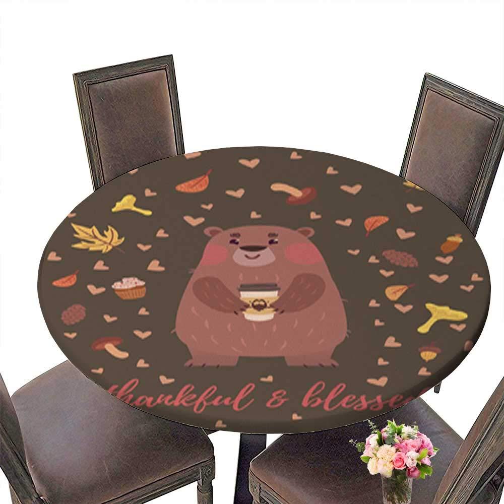 装飾ラウンドテーブルクロス、ダイニングルームやパーティー用サンキューテーブルカバー 67.5