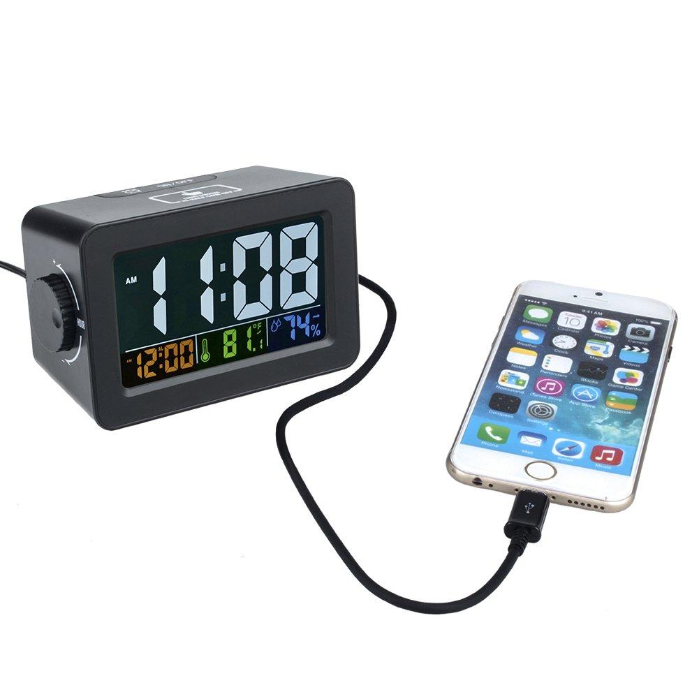 Lomanda Alarm Clock, Multifunction Easiest Set Digital Clock 4.3'' Display Ambience Temperature Humidity Low Light Sensor Technology with USB Port for iPhone/Smartphone (Black/Colorful Screen, 4.3'')