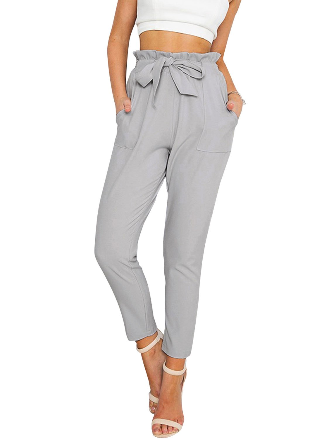 Simplee Apparel Women's Slim Straight Leg Stretch Casual Pants with Pockets Gray,Small