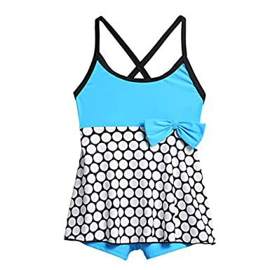 Arshiner Girls Swimming Costume Polka Dot Skirted One Piece Swimsuit