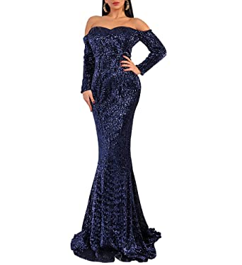 32d88fe154 LinlinQ Women's Bra Long Sleeve Off Shoulder Sequin Skinny Maxi ...