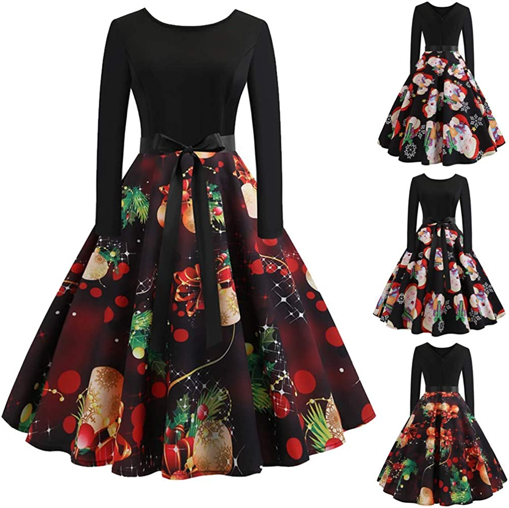 PASATO Christmas Womens Long Sleeve O Neck Printing Vintage Gown Evening Party Dress Skirt