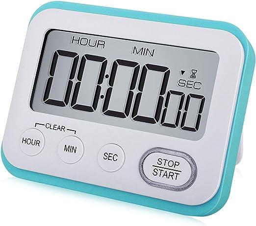Digital Kitchen Timer Magnetic Loud Alarm Clock, Large LCD Screen Silent/Beeping Multi-function for Teachers Kids, Sky Blue