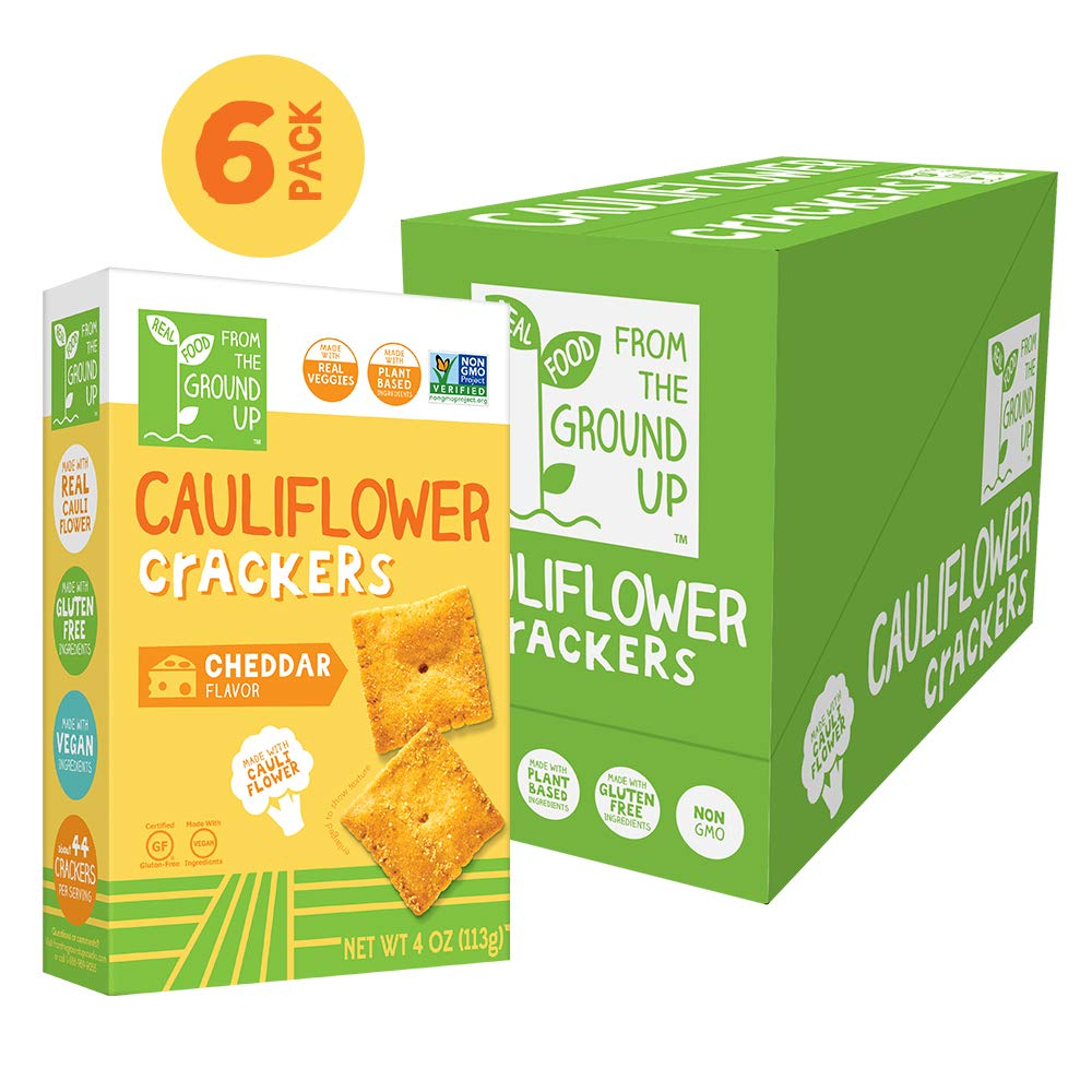 Real Food From the Ground Up Cauliflower Crackers - 6 Pack (Cheddar, Crackers) by REAL FOOD FROM THE GROUND UP