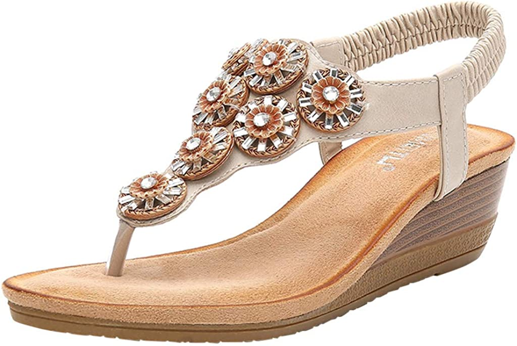 Bohemia Flip Flops Summer Beach T-Strap Sandals Comfort Walking Shoes BEAUTYVAN Womens Rhinestone Wedge Sandals