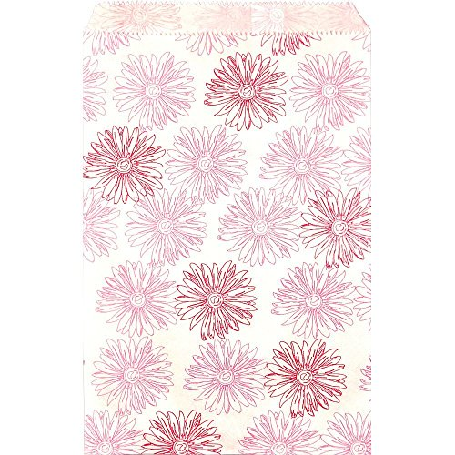 100 Pink Flower Print on White Flat Merchandise or Favor Bags 5x7 Inches ()
