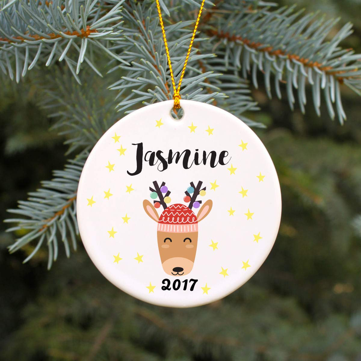 Susie85Electra Personalized Christmas Ornament Modern Reindeer With Lights Christmas  Ornament Childrens Christmas Ornament Custom Holiday Ornament Kids