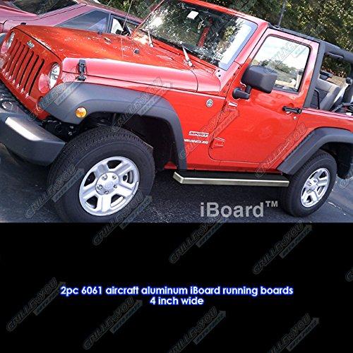 """iBoard Running Boards 4"""" Fit 07-15 Jeep Wrangler 2-Door"""