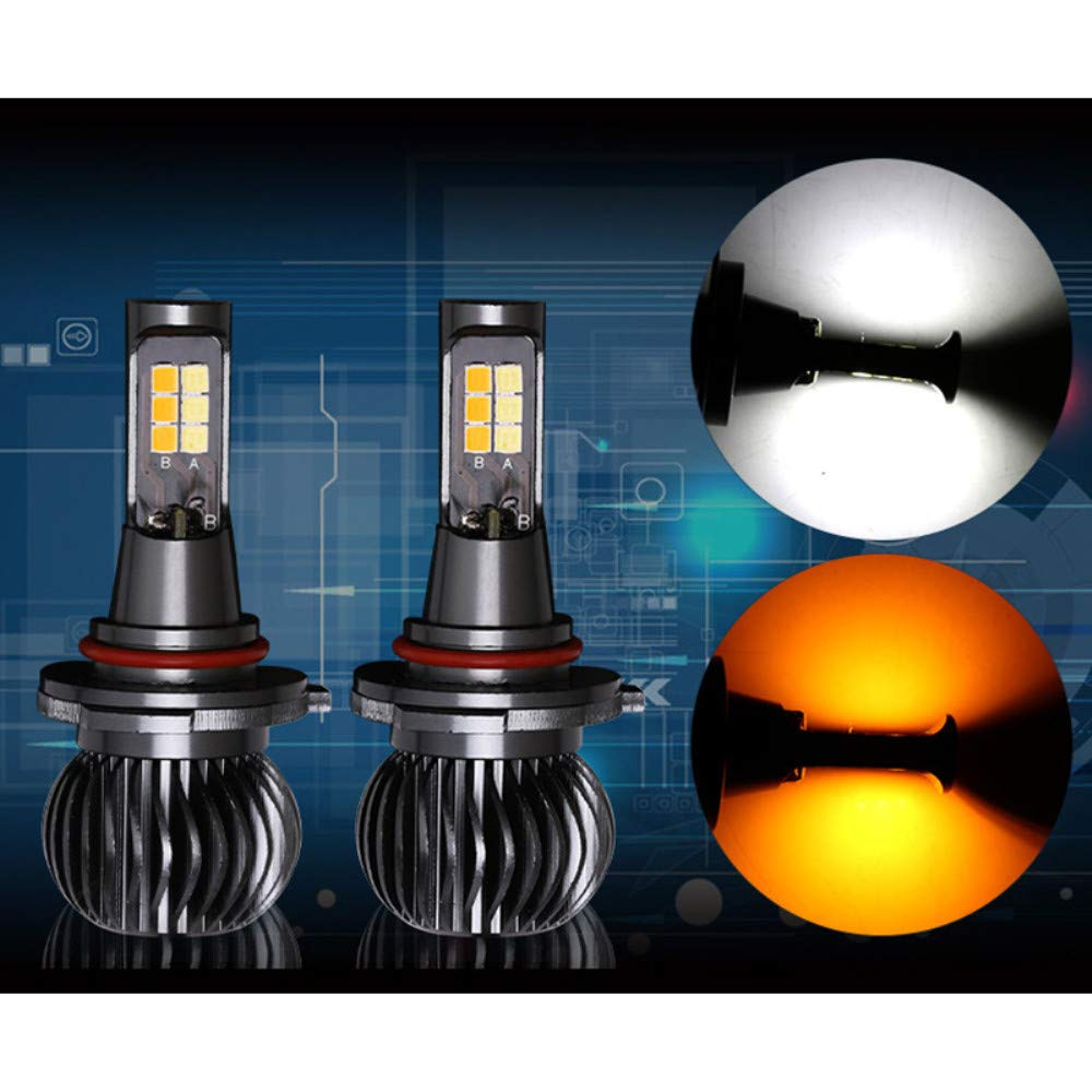 LED Fog Light Bulb, Hight power LED Dual Color in One esigh white and yellow Switch Freely for H11/H8/H9 (pack of 2)