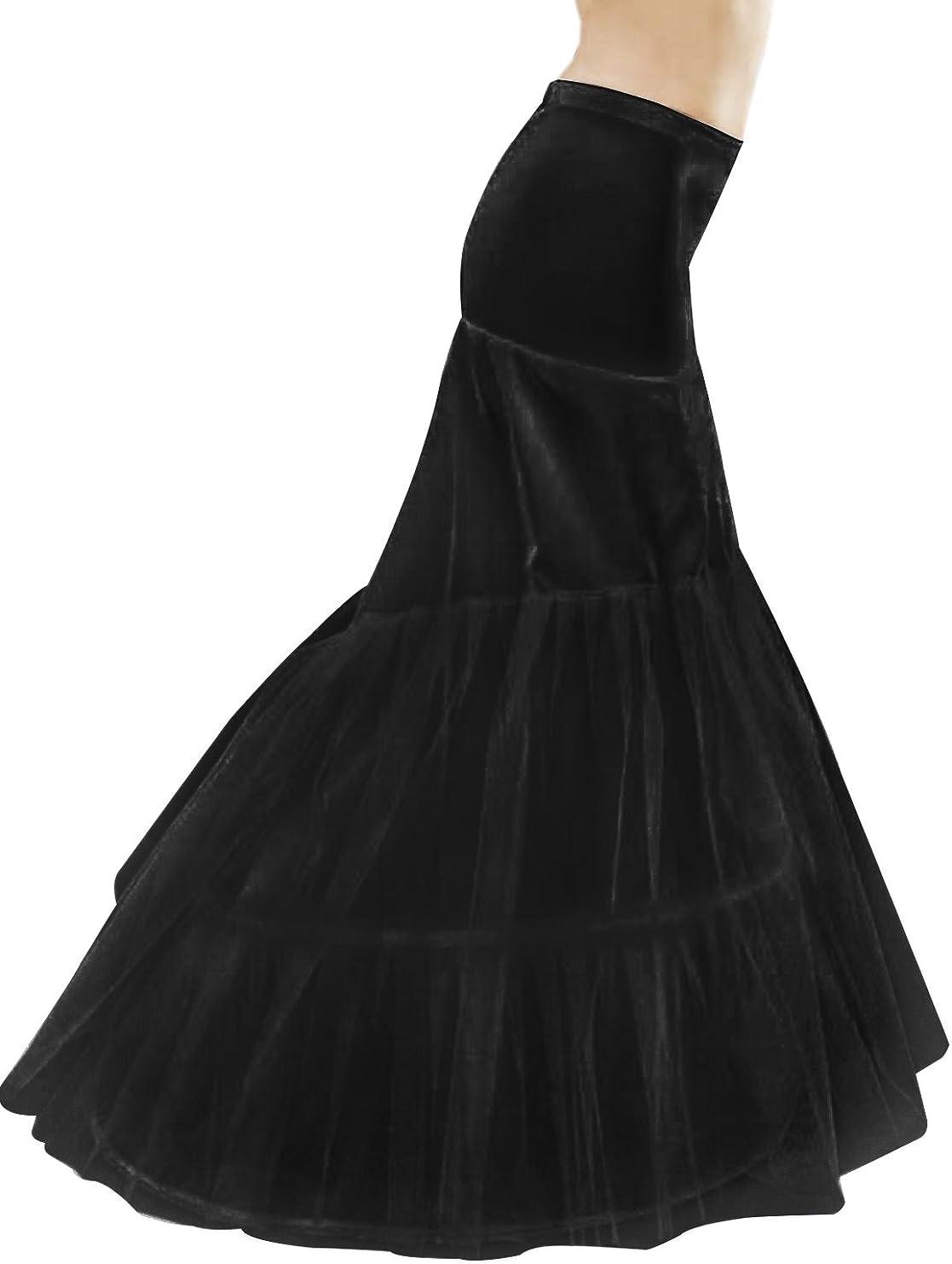 BEAUTELICATE Petticoat Reifrock Unterröcke Damen Fur Meerjungfrau  Brautkleid Hochzeitskleid Abendlieid Rockabilly Underskirt Schwarz Weiß 16  Reifen