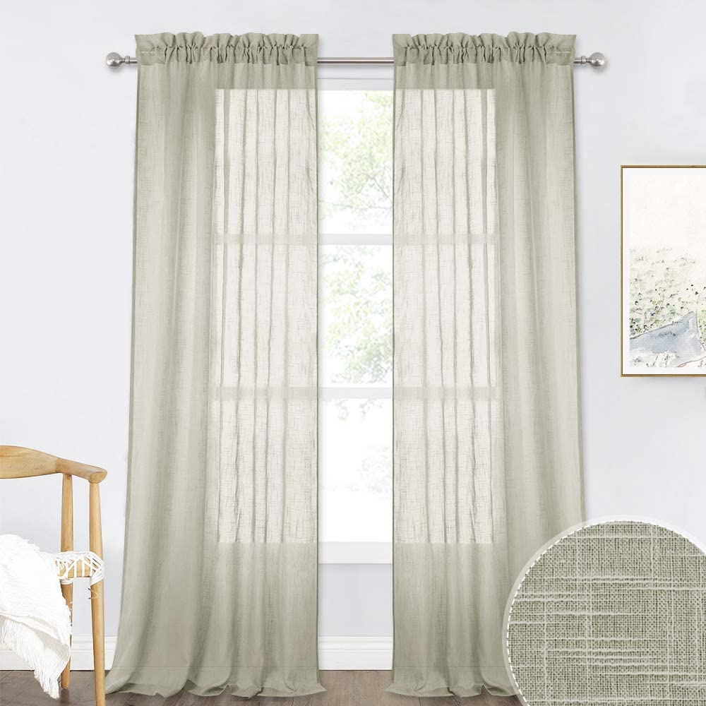 RYB HOME Privacy Sheer Curtains - Farmhouse Window Panels Semitransparent, Voile Drapes Sunlight Filter Linen Like Home Decor for Dining Room Living Room Bedroom, Taupe, 52 x 95, 2 Pcs