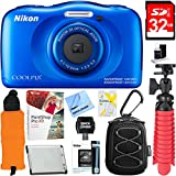Nikon COOLPIX W100 13.2MP Waterproof Digital Camera (Blue) + 32GB SDHC High Speed Memory Card +...