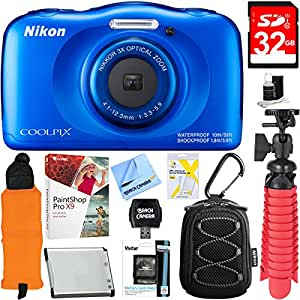 Nikon COOLPIX W100 13.2MP Waterproof Digital Camera (Blue) + 32GB SDHC High Speed Memory Card + Accessory Bundle
