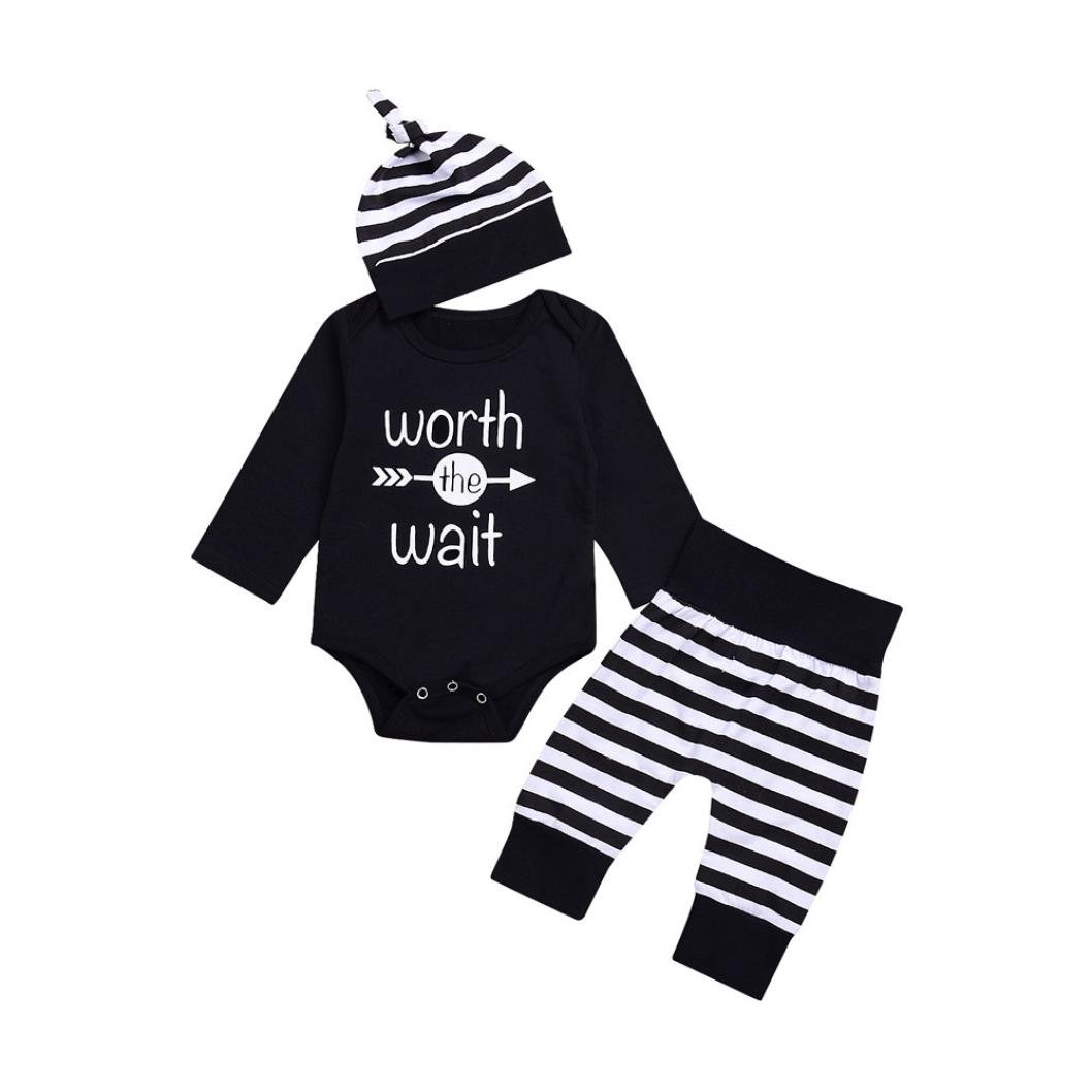 3pcs Baby Girl Boy Worth the Wait Long Sleeve Romper+Stripe Pants+Hat Outfit Set