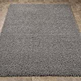 "Cozy Shag Collection Grey Solid Shag Rug (5'0"" X 7'0"") Contemporary Living and Bedroom Soft Shaggy Area Rug"
