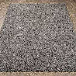 Sweet Home Stores Cozy Shag Collection Solid Contemporary Living & Bedroom Soft Shaggy Area Rug, 5 feet by 7 feet, Grey