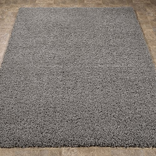 "Ottomanson Soft Cozy Color Solid Shag Area Rug Contemporary Living and Bedroom Soft Shag Area Rug, Grey, 3'3"" L X 4'7"" W"